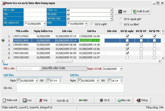 Kiểm tra và xử lý dữ liệu hiện diện hàng ngày