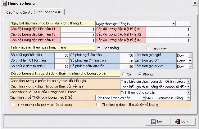 Chi tiết các thông số tính lương