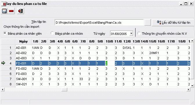 Import dữ liệu phân ca từ file excel